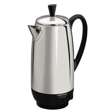 With this large Farberware stainless steel 12-cup percolator, you'll get the best coffee percolator for frequent coffee drinkers
