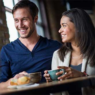 remington instagram happy interracial couple drinking coffee together