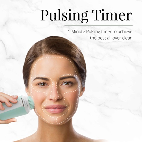 remington reveal compact facial cleansing brush with pulsing timer fc500