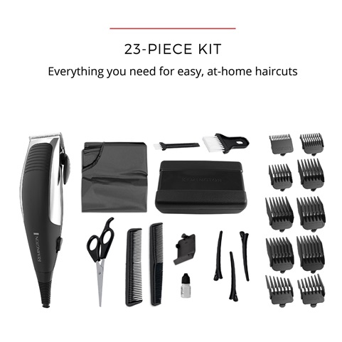 23-Piece Kit. Everything you need for easy, at-home haircuts.