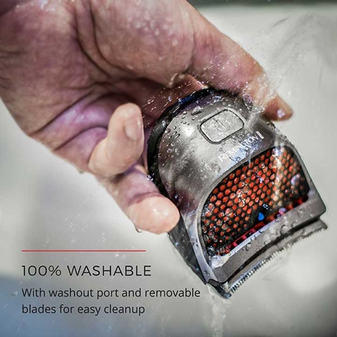 100 Percent Washable - With washout port and removable blades for easy cleanup