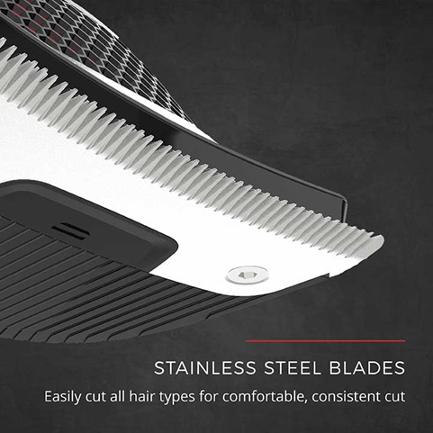 Stainless Steel Blades Easily cut all hair types for comfortable, consistent cut