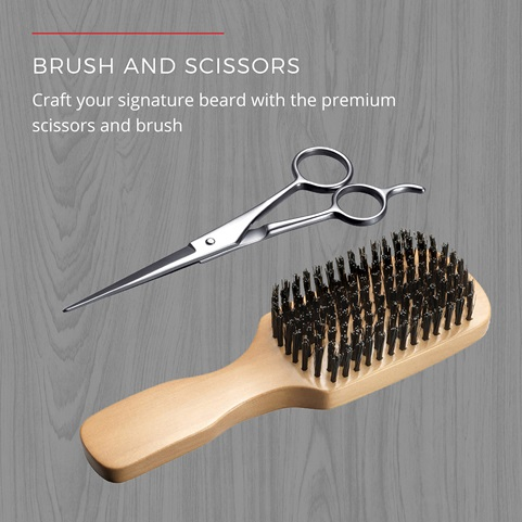 Brush and Scissors craft your signature beard with the premium scissors and brush