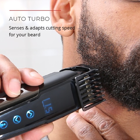 Auto Turbo. Senses and adapts cutting speed for your beard