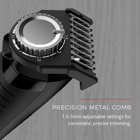 Precision metal comb. 1.5 to 5mm adjustable settings for consistent, precise trimming.