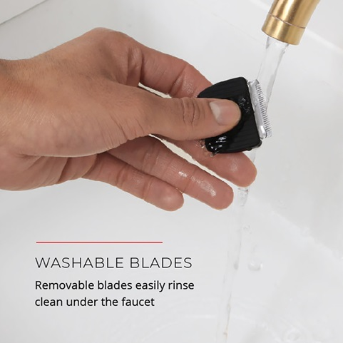 Washable blades. Removable blades easily rinse clean under the faucet
