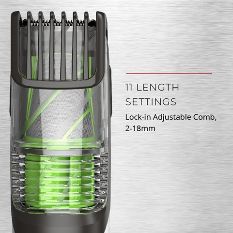 11 length settings. Lock in adjustable comb, 2 to 18 millimeters