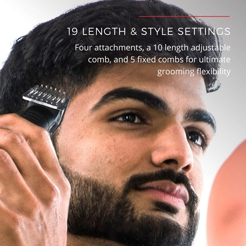 19 length and style settings. Four attachments, a 10 length adjustable comb, and 5 fixed combs for ultimate grooming flexibility
