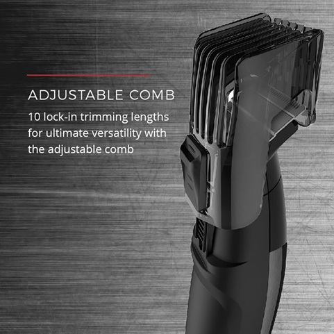 Adjustable Comb. 10 lock-in trimming lengths for ultimate versatility with the adjustable comb