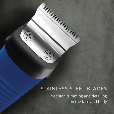 Stainless steel blades. Precision trimming and detailing on the face and body.