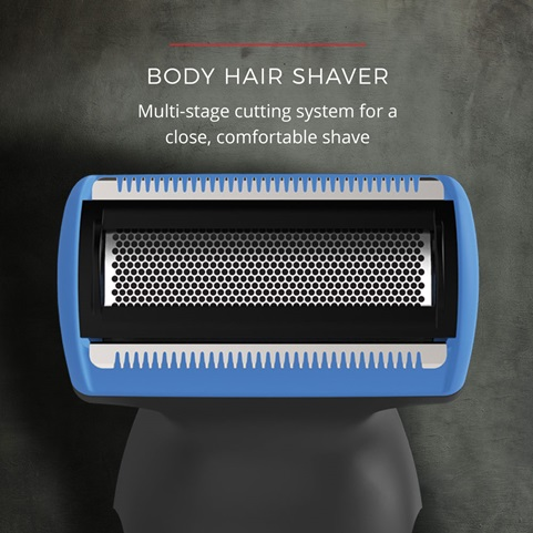 Body Hair Shaver. Multi stage cutting system for a close, comfortable shave