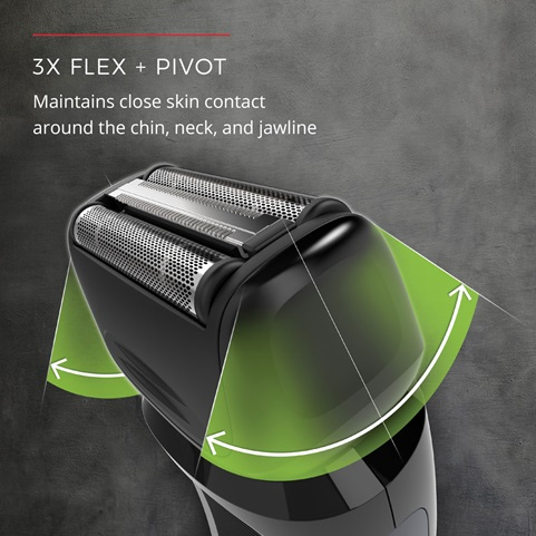 3X Flex + Pivot. Maintains close skin contact around the chin, neck and jawline