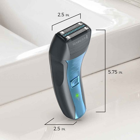 remington sensitive electric foil shaver scaled dimensions on bathroom counter sf4880