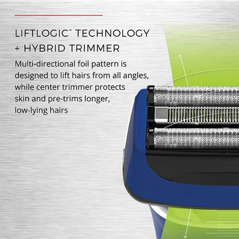 LiftLogic Technology + Hybrid Trimmer. Multi-directional foil pattern is designed to lift hairs from all angles, while center trimmer protects skin and pre-trims longer, low-lying hairs.