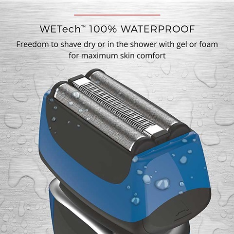 WetTech 100 percent waterproof freedom to shave dry or in the shower with gel or foam for maximum skin comfort