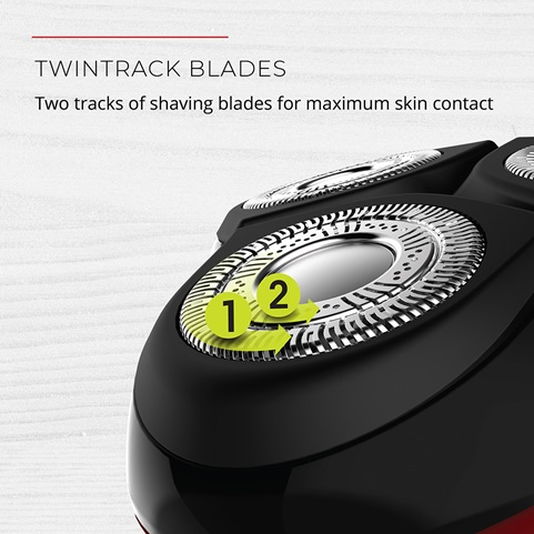 TwinTrack Blades. Two tracks of shaving blades for maximum skin contact