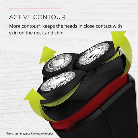 Active contour. More contour keeps the heads in close contact with skin on the neck and chin. More than previous Remington model