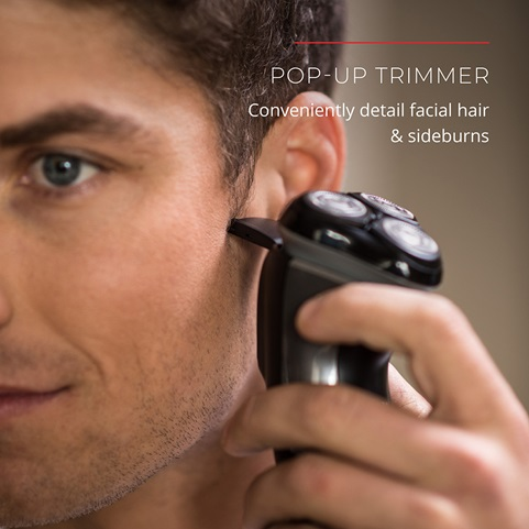 Pop-Up Trimmer. Conveniently detail facial hair and sideburns