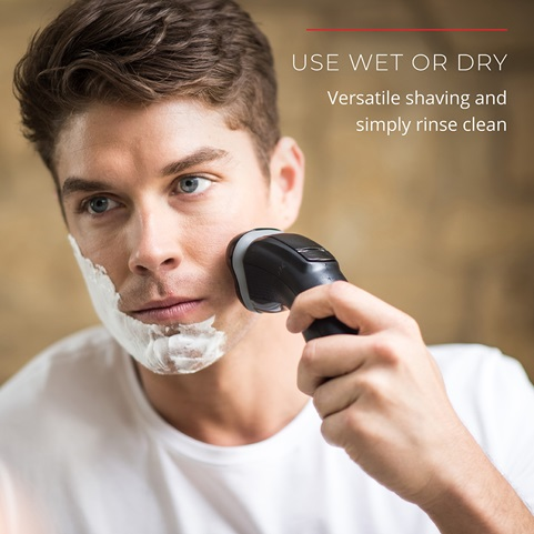 Use Wet or Dry. Versatile shaving and simply rinse clean