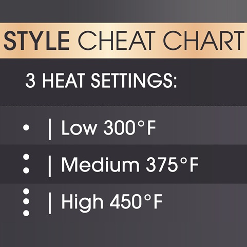Style Cheat Chart. 3 Heat Settings. Low 300 degrees fahrenheit. Medium 350 degrees fahrenheit. High 450 degrees fahrenheit