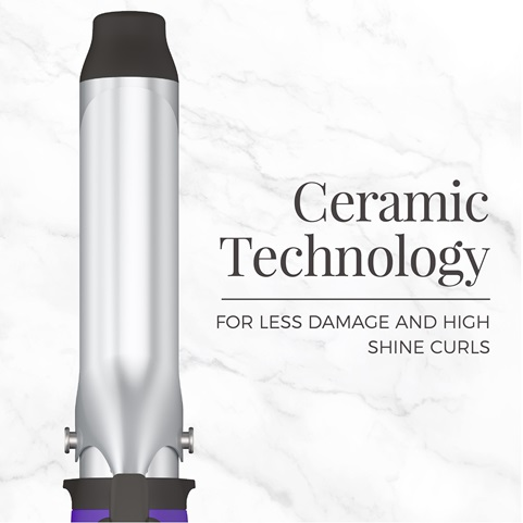 Ceramic Technology for less damage and high shine curls