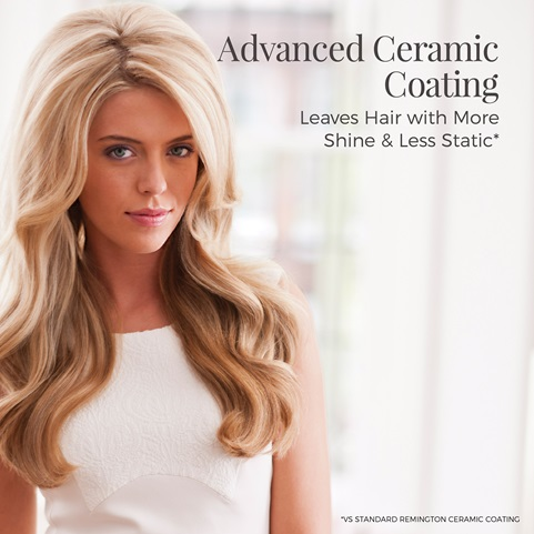 Advanced ceramic coating. Leaves hair with more shine and less static. Vs standard Remington coating.