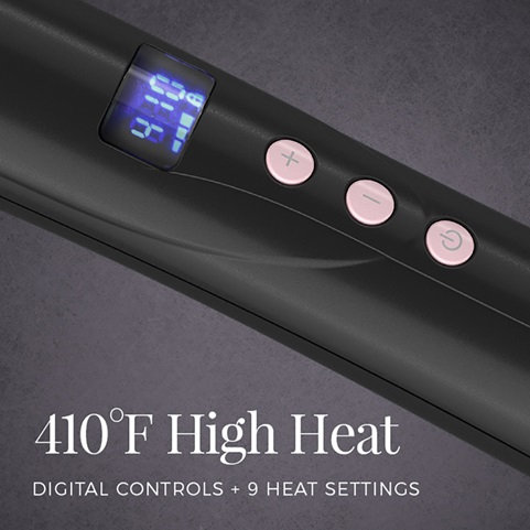 410 degrees farenheit high heat. Digital controls plus 9 heat settings