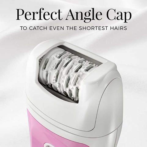 Perfect Angle Cap to catch even the shortest hairs