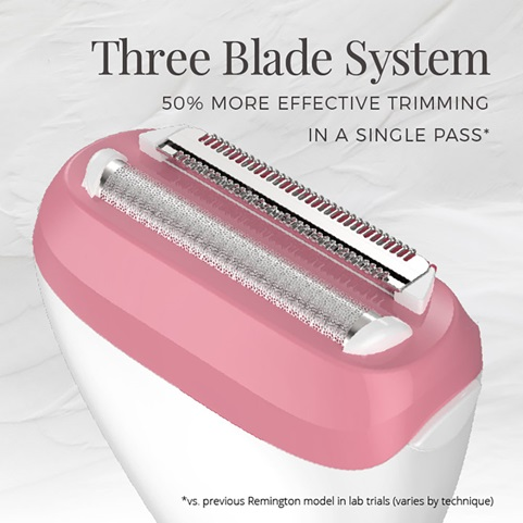 Three Blade System. 50 percent more effective trimming in a single pass* vs previous Remington model in lab trials. varies by technique