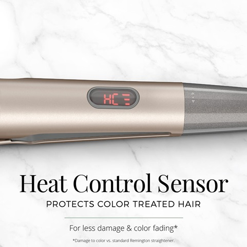 Heat Control Sensor protects color treated hair for less damage and color fading.