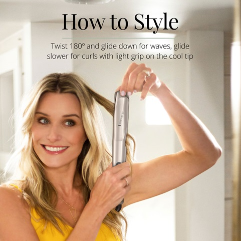 How to Style. Twist 180 degrees and glide down for waves, glide slower for curls with light grip on the cool tip.