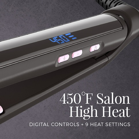 450 Degrees farenhieght salon high heat. Digital controls plus 9 heat settings
