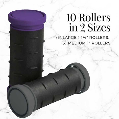 10 Rollers in 2 sizes, 5 large 1 1/4