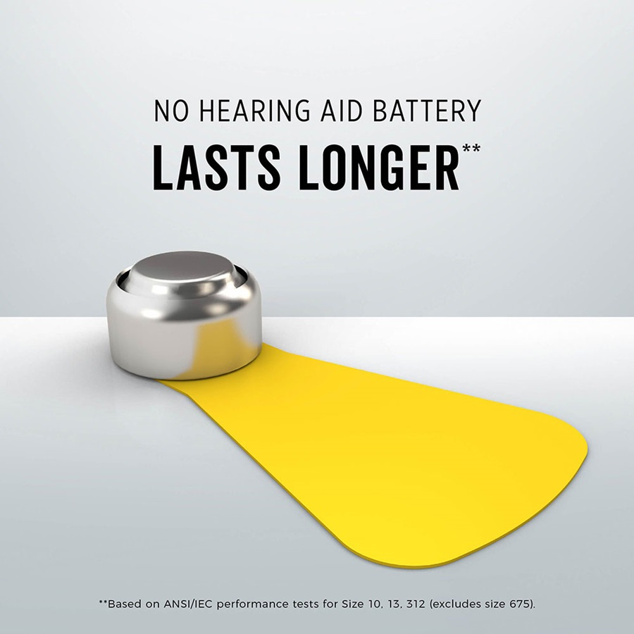 no hearing aid battery lasts longer* size 10