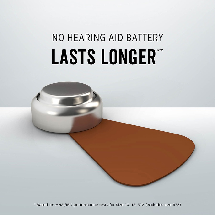 no hearing aid battery lasts longer* size 312