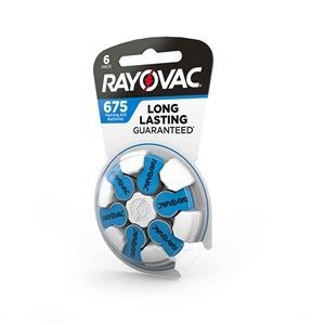 Rayovac Hearing Aid Batteries Size 675 6 Pack