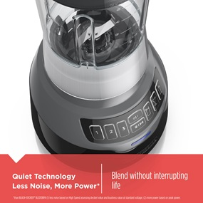 Quiet Technology Less Noise, More Power* Blend without interrupting life. *than BLACK and Decker BL2010BPA (1) less noise based on High Speed assessing decibel value and loudness value at standard voltage; (2) more power based on peak power.