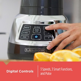 Digital Controls. 3 speeds, 3 smart functions, and pulse.