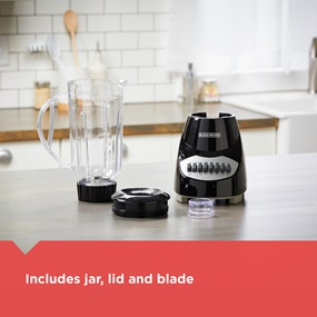 Includes jar, lid and blade