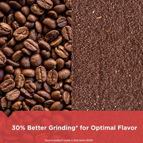 30 percent better grinding* for optimal flavor. Based on grinding 10 seconds vs. Black and Deck CBG100S