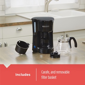 Includes carafe and removable brew basket