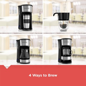 black and decker 5 in 1 coffee maker showing all 4 ways to brew cm0755s