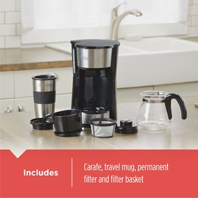 Includes carafe, travel mug, permanent filter and filter basket