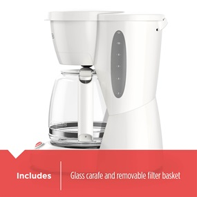 Includes glass carafe and removable filter basket CM0940BD