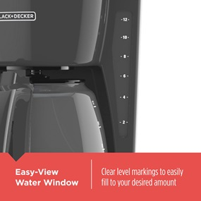 Easy-View Water Window. Clear level markings to easily fill to your desired amount
