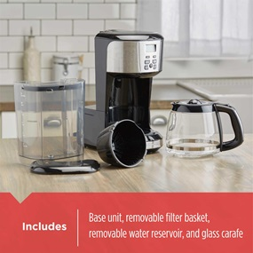 includes base unit removable filter basket with glass carafe and removable water reservoir cm4110s