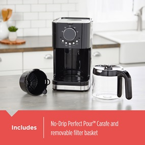 Includes no-drip perfect pour™ carafe and removable filter basket