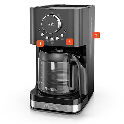 BLACK+DECKER™ Select-A-Size Easy Dial Programmable Coffeemaker, Black, CM4200B