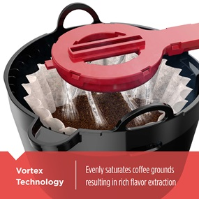 Vortex Technology evenly saturates coffee grounds resulting in rich flavor extaction CM4200S