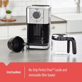 Includes - No drip perfect pour™ carafe and removable filter basket